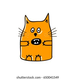 Angry cat with vampire's jaws. Vector illustration.