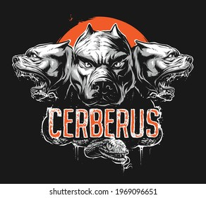 Angry Cerberus. Three headed dog