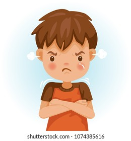 Angry child. The boy in a red shirt is expressing anger. Excitement and frown. Cartoon characters, vector illustrations, isolated on white background.