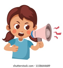 angry child screaming into a megaphone. Cartoon vector illustration