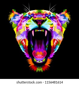 angry colorful lion on pop art style
