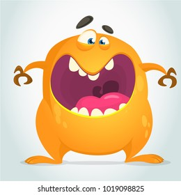 Angry cool cartoon fat monster. Orange vector monster character