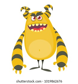 Angry cool cartoon fat monster. Orange and horned vector monster character