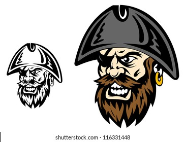 Angry corsair and pirate captain for mascot design, such a logo template. Jpeg version also available in gallery