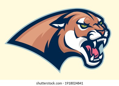 Angry cougar head vector emblem. Can be used as mascot or logo.