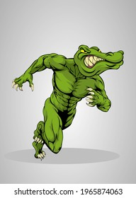 angry crocodile the body Builder in cartoon style