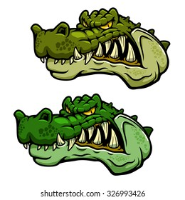 Angry crocodile character head with bared teeth and rugged armored green skin, for sporting mascot or tattoo design
