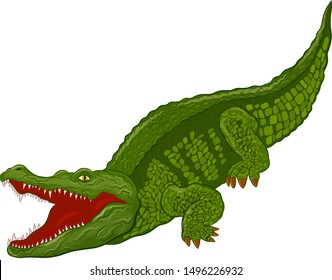 angry crocodile with open mouth green cartoon