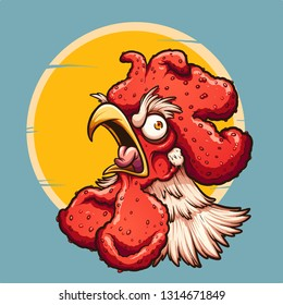 Angry crowing rooster with sun in the background. Vector clip art illustration with simple gradients. Some elements on separate layers.