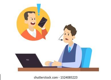 Un client en colère crie au téléphone au travailleur. Réponse de l'opérateur lors de l'appel téléphonique. Communication avec le client. Illustration vectorielle isolée à plat