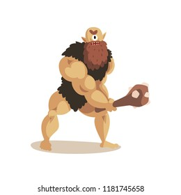 Angry Cyclops caveman with a cudgel, ancient mythical creature cartoon vector Illustration on a white background