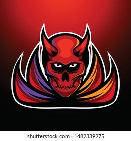 Angry Devil Red Skull Logo Design E-sport Logo Template Design