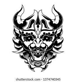 Angry Devil Samurai Ronin Head vector illustration