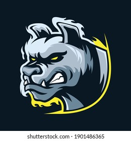 Angry dog head mascot logo template illustration