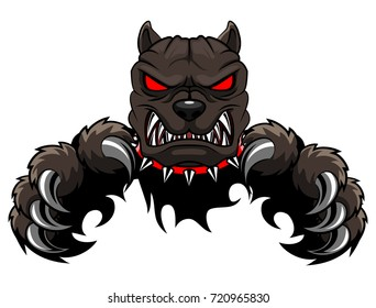 Aggressive dangerous dog attack. big pooch infected by rabies isolated on  white background. flat art vector illustration.