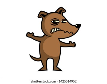 Angry Dog vector illustration. Rabid dog icon. Brown Dog cartoon character. Angry Dog isolated on a white background