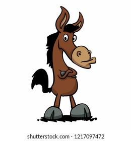 Angry donkey - stupid mule Vector illustration