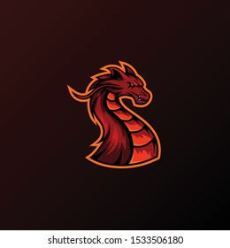 Angry dragon mascot illustration for sport and esport or gamer team logo.