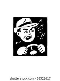 Angry Driver - Retro Clip Art