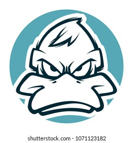angry duck head mascot bw version