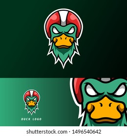 Angry duck rider mascot sport gaming esport logo template for streamer squad team club