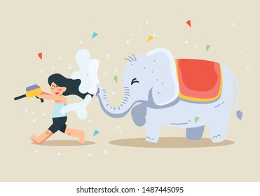 Angry elephant running after a child vector design. Ganesh Chaturthi also known as Vinayaka Chaturthi is one of the important Hindu festivals celebrated throughout India with a great devotion.