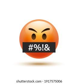 Angry emoji curse emoticon. Swear word reaction bad emoji face icon
