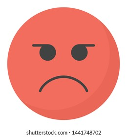 Angry emoji icon in flat design.