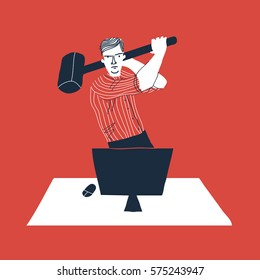 Angry  employee with hammer. Creative vector illustration on red background. Exasperated office worker.