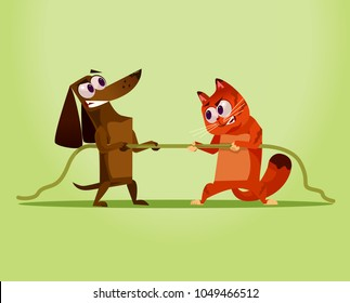Angry enemy domestic Cat vs Dog. Competition war opposition concept. Vector flat cartoon illustration