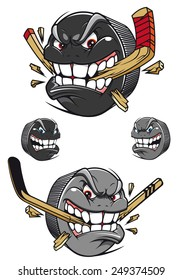 Angry evil hockey puck chomping an ice hockey stick with a toothy leer, two color variants and two with faces and no stick