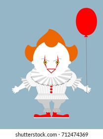 Angry evil red-haired clown with a red balloon. Vector illustration