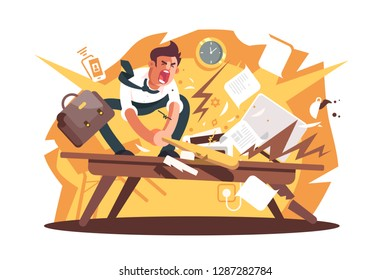 Angry and exasperated worker crushed workplace. Cartoon wrathful man destroys work position with baseball bat vector illustration flat concept. Nervous breakdown because of problems or stress at work