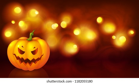 Angry face cartoon style pumpkin on yellow boken defocused background, vector halloween background