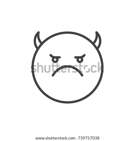 Angry Face Emoticon Horns Line Icon Stock Vector Royalty Free