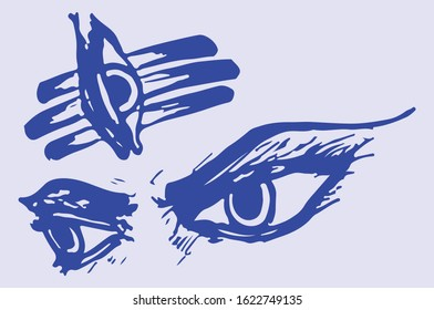 Angry Face and Eye view of Lord Shiva Vector Illustration