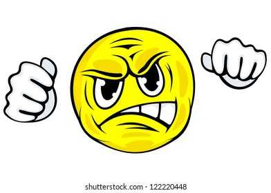 Angry face icon with hands in cartoon style for emotion design, such a logo template. Jpeg version also available in gallery
