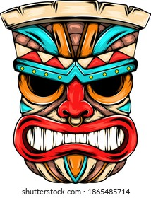 The angry face mask from the tiki island with the bright colour as the ornament