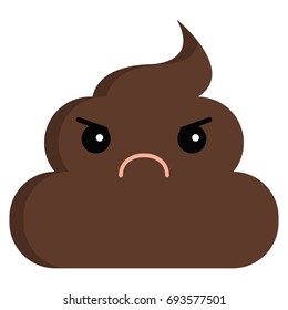 Angry Face stinky poop shit emoji flat icon, vector sign, colorful pictogram isolated on white. Symbol, logo illustration. Flat style design