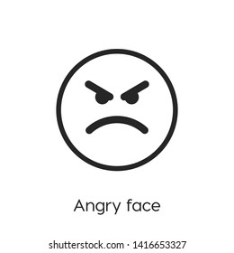 Angry face vector icon. Angry face silhouette symbol. Linear style sign for mobile concept and web design. Angry face symbol logo illustration. vector graphics - Vector.