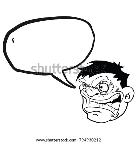 Angry Fat Man Face Speech Bubble Stock Vector Royalty Free