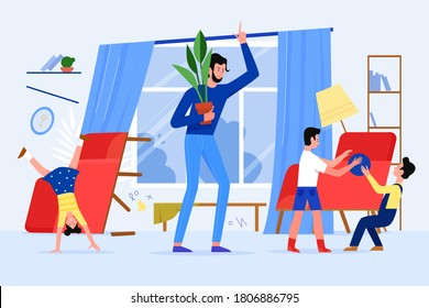 Angry father scold children vector illustration. Cartoon flat stressed dad parent character scolding naughty kids, making mess at home living room. Stress of parenthood, fatherhood problem background