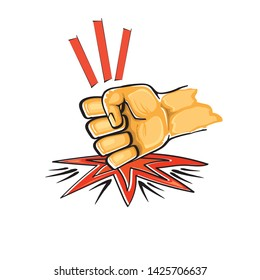 Angry Fist on table vector icon. Anger or aggression concept. Cartoon man Fist hitting table. fight for your rights illustration