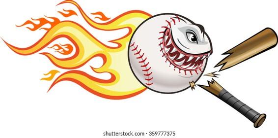 Angry flaming screaming baseball. Cresh Bat