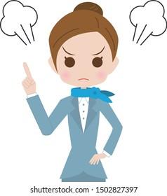 Angry flight attendant upper body