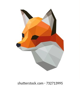 Angry Fox mascot face head geometric logo emblem. Low Polygonal Animal Symbol Collection. Isolated vector Fox app icon Template for print design apparel