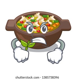 Angry fried minestrone in the cup character