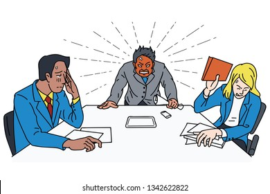 Angry and frustrated boss at meeting table, business cocept in red head businessman, bipolar emotion at work. Vector illustration, line, linear, thin line art, hand draw style.