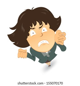 Angry and frustrated business woman. Vector illustration.