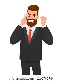 Angry, frustrated businessman talking on the mobile phone and raising fist. Evil, negative, bad facial expression. Human emotion and body language concept illustration in vector cartoon flat style.